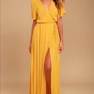Lulus Much Obliged Golden Yellow Wrap Maxi Dress M